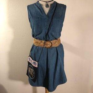 EUC Merona denim tunic shift dress hi-lo hem sz M